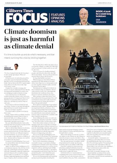 The Canberra Times - Tim Hollo opinion piece - Climate Doomism - Hope